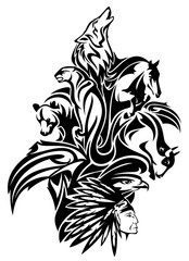 animal world spirits black and white vector design