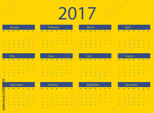 Calendario Vectorizado.Calendario Vectorizado 2017 En Ingles Stock Image And