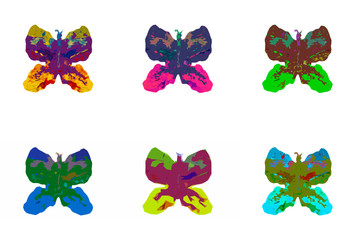 six bright color butterflies on a white background
