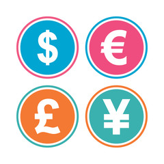 Dollar, Euro, Pound and Yen currency icons. USD, EUR, GBP and JPY money sign symbols. Colored circle buttons. Vector