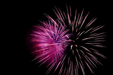 Two flashes of purple fireworks