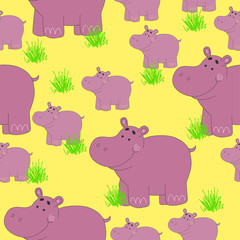 Seamless pattern with hippo. Funny animals pattern on a yellow background.