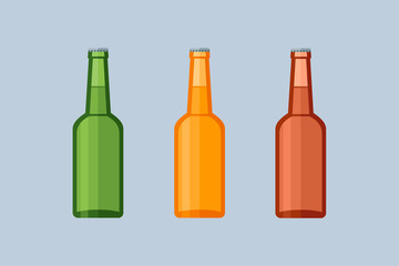 Set of glass beer bottles isolated on blue background. Flat style vector illustration.