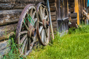 wooden wheels in village