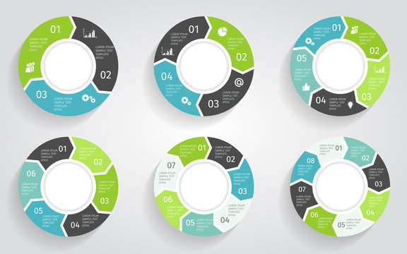 Circle arrows modern infographic set. Vector template with 3-8 options for diagram, workflow layout, flowchart, steps, parts, timeline, chart, web design, background.