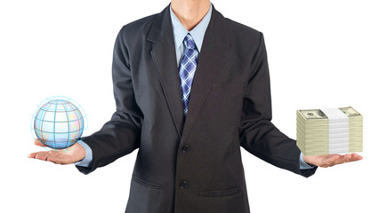 Businessman / View of businessman holding globe and dollars on white background.