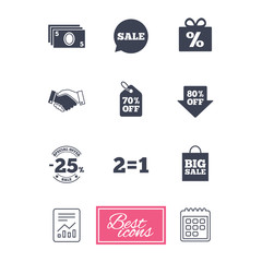 Sale discounts icon. Shopping, handshake and cash money signs. 25, 70 and 80 percent off. Special offer symbols. Report document, calendar icons. Vector