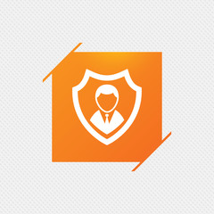 Security agency sign icon. Shield protection symbol. Orange square label on pattern. Vector