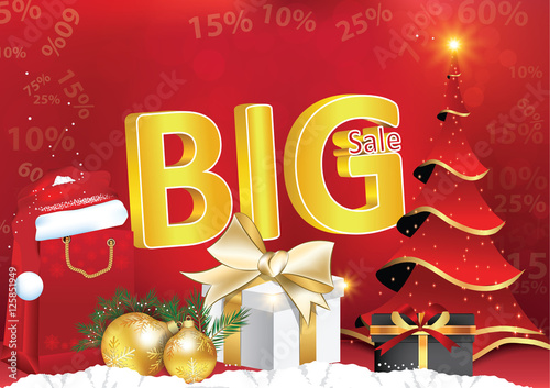 winter big sales poster for print contains 3d text big sale present box