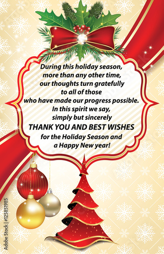 thank you business greeting card for christmas and new year contains christmas tree christmas