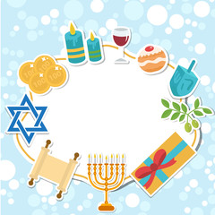 Happy Hanukkah card, template for text, frame. Hanukkah is a Jewish holiday. Greeting Card with Menorah, Sufganiyot, Dreidel. Vector illustration