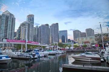 Toronto Harborfront May 28, 2016: Busy Toronto harborfront area.