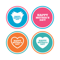 Happy Mothers's Day icons. Mom love heart symbols. Flower rose sign. Colored circle buttons. Vector