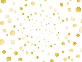 Scattered shiny golden glitter polka dot background, gold leaf,