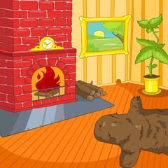 Cartoon background of vintage living room interior
