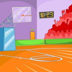 Cartoon background of basketball court.