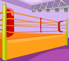Cartoon background of boxing ring.