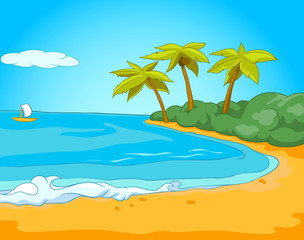 Cartoon background of tropical beach and sea.
