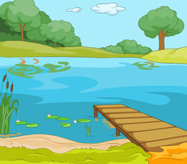 Cartoon background of forest lake with pier.