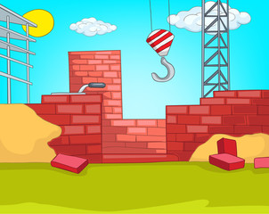 Cartoon background of urban house construction.