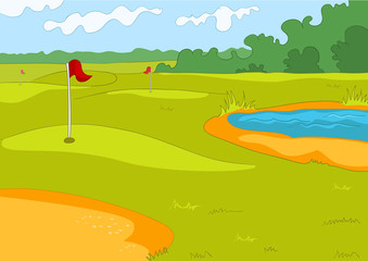 Cartoon background of golf course.
