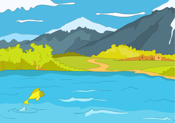 Cartoon background of mountain lake.