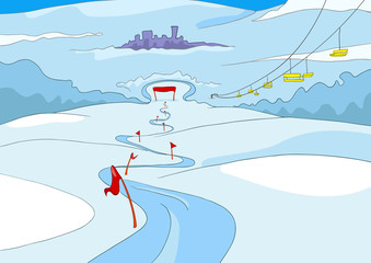 Cartoon background of ski resort.