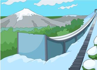 Cartoon background of ski resort.