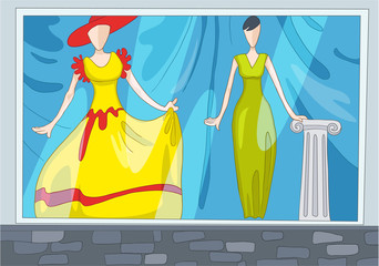 Cartoon background of clothes shop.