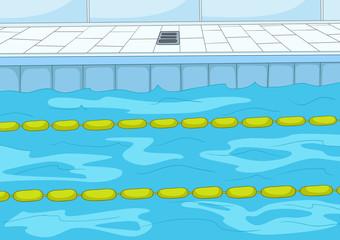 Cartoon background of swimming pool.