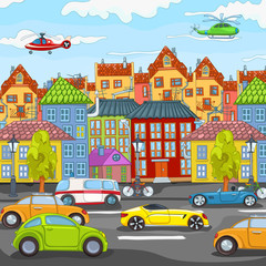 Cartoon background of city traffic.