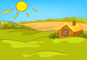 Cartoon background of countryside summer landscape