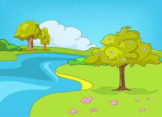 Cartoon background of summer landscape.
