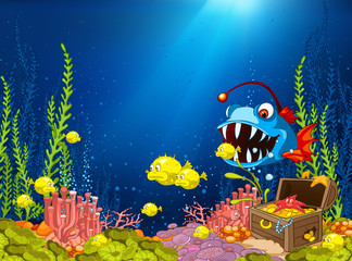 Cartoon background of underwater life.