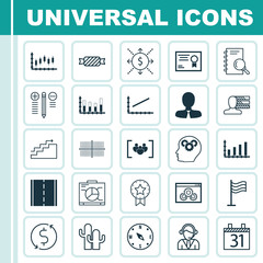 Set Of 25 Universal Editable Icons. Can Be Used For Web, Mobile And App Design. Includes Icons Such As Sweet, Segmented Bar Graph, Present Badge And More.