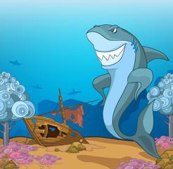 Cartoon background of underwater life.