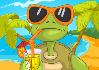 Cartoon of turtle drinking cocktail on the beach.