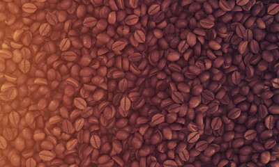 Top view of coffee beans lying on some flat surface, toned