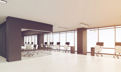 Office with black elements of decoration, toned