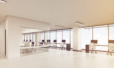 View of office with rounded corners conference room, toned