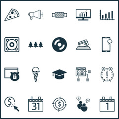 Set Of 20 Universal Editable Icons. Can Be Used For Web, Mobile And App Design. Includes Icons Such As Schedule, Blank Cd, Messaging And More.