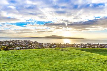 Rangitoto island and Hauraki gulf at dawn. Auckland, New Zealand