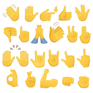 Set of hands icons and symbols. Emoji hand icons. Different gestures, hands, signals and signs, vector illustration.