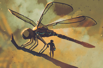 pilot standing with giant mechanical dragonfly,sci-fi concept illustration painting
