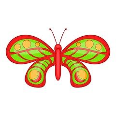 Butterfly with ornament icon. Cartoon illustration of butterfly vector icon for web design