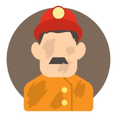 Fireman icon. Flat illustration of fireman vector icon for web