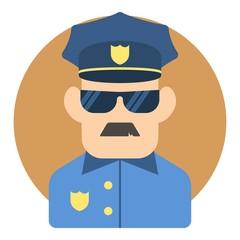 Policeman icon. Flat illustration of policeman vector icon for web