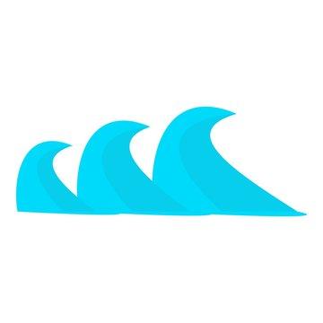 Three sea waves icon. Cartoon illustration of three sea waves vector icon for web