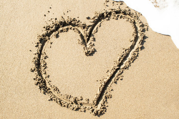 Heart on the sand