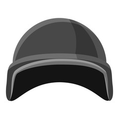 Military helmet icon. Gray monochrome illustration of military helmet vector icon for web